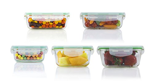 10 Piece Square Glass Food Storage Container Set (Specially Made for Microwave, Oven, Fridge, Freezer, and Dishwasher) (Refrigerator Dishes compare prices)