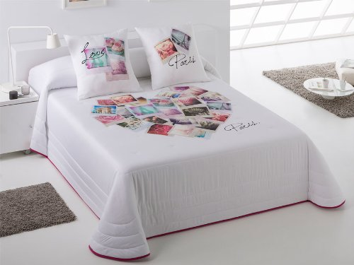 Colcha bouti Paris - Cama 180 cm - Color: Fucsia