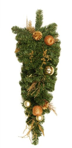 """30"""" Pre-Decorated Pine, Gold Apple, Ball, Berry and Pine Cone Artificial Christmas Teardrop Swag - Unlit"""