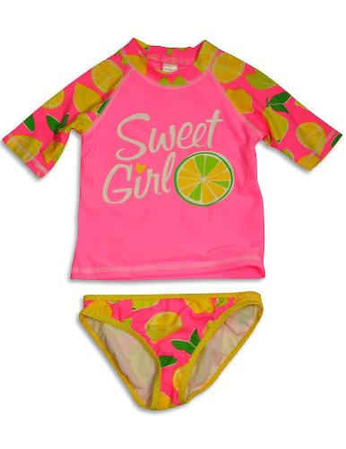 Carter'S - Little Girls' 2 Piece Rashguard Rash Guard Swimsuit Set, Pink, Yellow 31659-6 front-157771