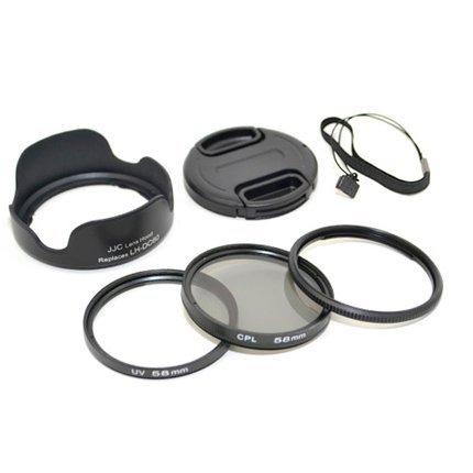 KIWIfotos Objektiv Zubehörset 6 teilig mit 58mm UV und Circular Polarizer Filter, für Canon PowerShot SX30 IS Polarisationsfilter Lens Hood Objektivdeckel Polfilter