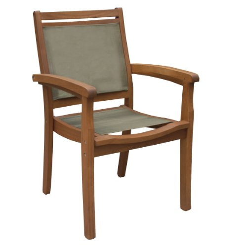 Outdoor Interiors BW Sling and Eucalyptus Stackable Arm Chair Brown O