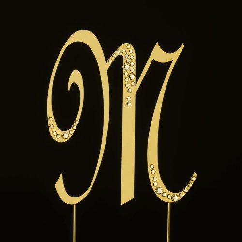 Raebella New York Swarovski Crystal Sparkle Cake Top Topper Gold Letter M (Large) front-324858