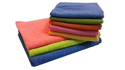 """BEST 8pc Soft Microfiber Cleaning & Drying Cloths KIT - Window Car (SET OF 4 + 1 Bonus) + EXTRA LARGE Floor Microfiber Squeegee Cloths 29""""x19"""" (SET OF 2 + 1 Bonus) STREAK FREE LINT FREE HIGH ABSORBENT"""