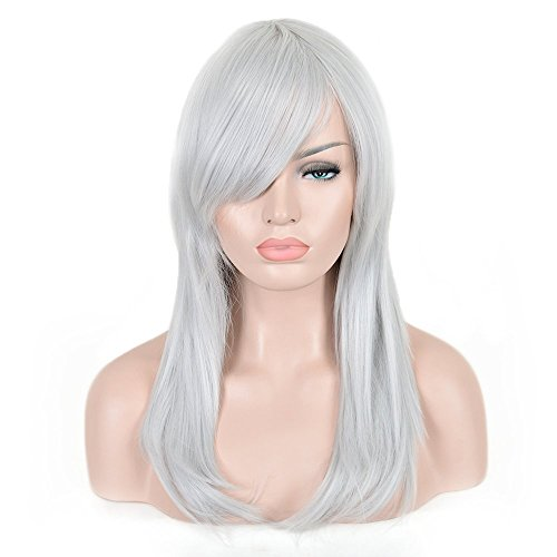 [SiYi Long Straight Silver GreyWig 19.7 Inch Fashion Women Synthetic Hair Witch Makeup Halloween Wig] (Best Womens Comic Con Costumes)