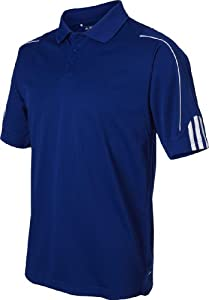 Adidas Golf A76 Men's ClimaLite 3-Stripes Cuff Polo - Collegiate Royal/White - L