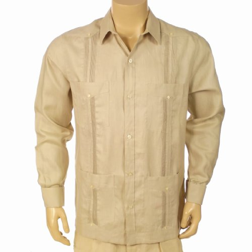 Irish Linen Cuban Style French Cuffs Long Sleeve Shirt