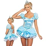 Ladies Sexy Cinderella Adult Fancy Dress Costume Outfit with Tiara UK 8-12