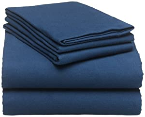Pinzon 160-Gram Solid 100-Percent Cotton Flannel Sheet Set, Queen, Cadet Blue
