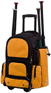 Black and Athletic Gold Chita CTR M Softball Baseball Bat Equipment Roller Backpack... by MAXOPS