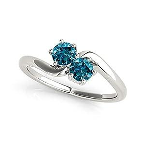 14k White Gold Round-cut Blue Diamond 2-Stone Ring (1/4 cttw, Blue, I1-I2)