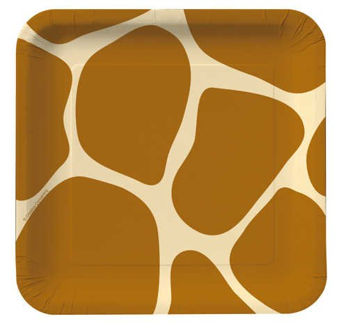 Creative Converting Animal Print Giraffe Square Dessert Plates, 8 Count