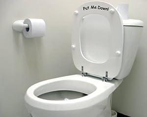 Vinylworld Humorous funny joke toilet decal sticker 'Put Me Down!' (BLACK)
