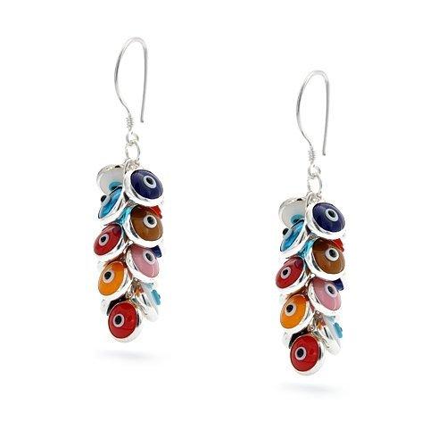 Bling Jewelry Multi Color Turkish Evil Eye Drop Earrings 925 Sterling Silver