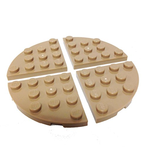 Lego Parts: Plate, Round Corner 4 x 4 (PACK of 4 - Dark Tan)