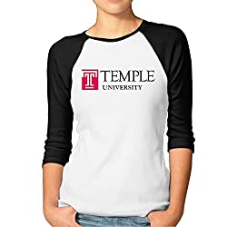 MYYMING Lady Temple University Logo 100% Cotton Raglan T Shirt