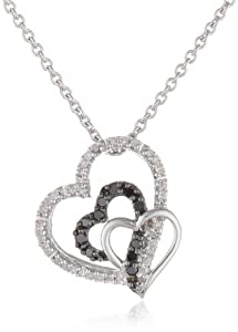 Sterling Silver Black and White Diamond Triple Heart Pendant Necklace (1/6 cttw, ), 18