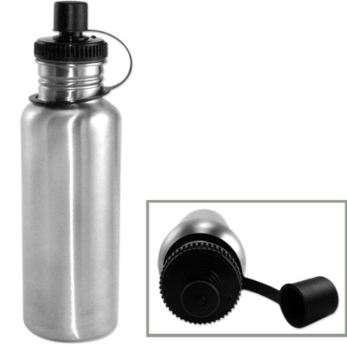 Eco-Friendly Silver Brushed Stainless Steel 25oz Wide Mouth Sports Water Bottle - Sports Cap - BPA-Free