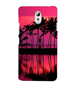 Red Ocean and Moon 3D Hard Polycarbonate Designer Back Case Cover for Lenovo Vibe P1m