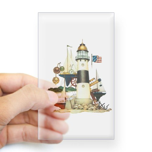 Sticker Clear (Rectangle) Nautical Vintage Lighthouse Telescope Steering Wheel Anchor And Ships