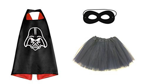 Rush Dance Kids Children's Deluxe Comics Super Hero CAPE & MASK & TUTU Costume (Starwars Darth Vader (Black Tutu))