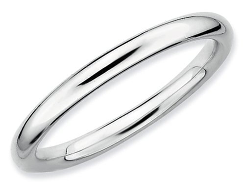 Stackable Expressions Sterling Silver Rhodium Polished Stackable Ring Size 5