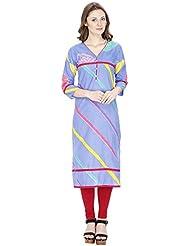 Agroha Women's Blue Printed Cotton Kurti
