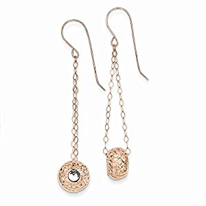 14K Gold Rose Gold Chain with Diamond Cut Puff Donut Bead Earrings