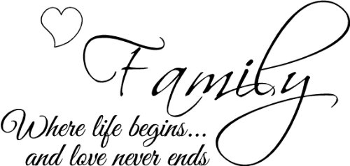 Family Where Life Begins And Love Never Ends Wall Art Wall Sayings Vinyl Letters Stickers Decals Bedroom Living Room front-544934
