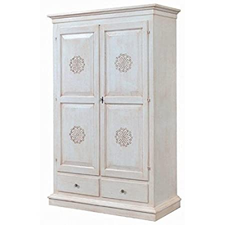Wardrobe 2 Doors 2 Drawers Antique White Carved – codluis 1088