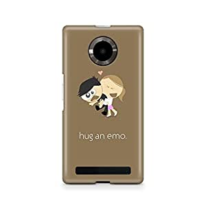 Motivatebox -Micromax Yuphoria Back Cover - Hug an emo Polycarbonate 3D Hard case protective back cover. Premium Quality designer Printed 3D Matte finish hard case back cover.