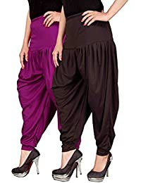Navyataa Women's Lycra Dhoti Pants For Women Patiyala Dhoti Lycra Salwar Free Size (Pack Of 2) Purple & Brown
