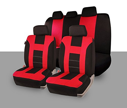 Zone Tech Universal Full Set of Car Seat Covers Racing Style- Red/Black (Leather Racing Seat Covers compare prices)