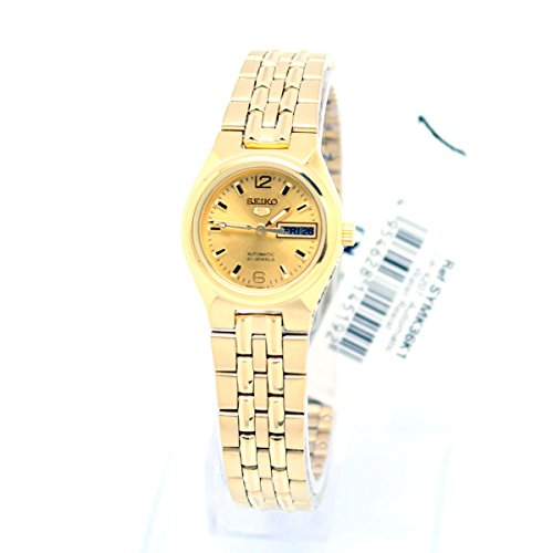 Seiko 5 Gold Tone Stainless Steel Case and Bracelet Gold DIal Day and Date