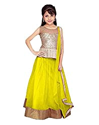 Surat Tex Yellow Color Party Wear Semi-Stitched Embroidered Soft net Lehenga Choli With Heavy Designer Brocket Top-J346LA2