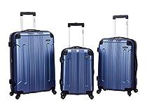 Rockland Luggage 3 Piece Abs Upright Luggage Set, Blue, Medium