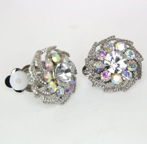 Vintage Clear and (AB) Austrian Crystal Flower Clip-on Earrings