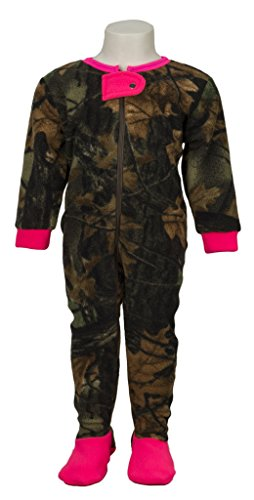 Toddler Camo One Piece Footed Fleece Crawler, 2T, Hot Pink & Camo