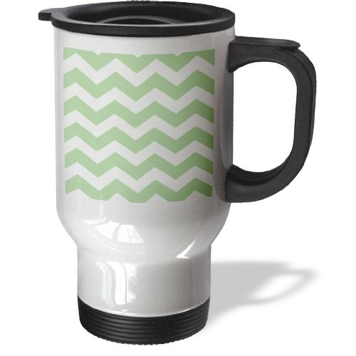 Tm_179671_1 Inspirationzstore Chevron Patterns - Sage Green And White Chevron Zig Zags Pattern - Light Pastel Zigzags - Travel Mug - 14Oz Stainless Steel Travel Mug