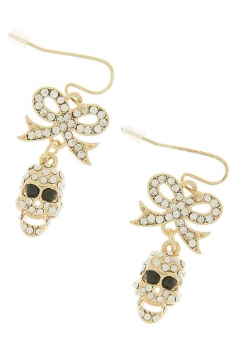 The Jewel Rack Crystal Bow Skull Earrings (Gold) front-322301
