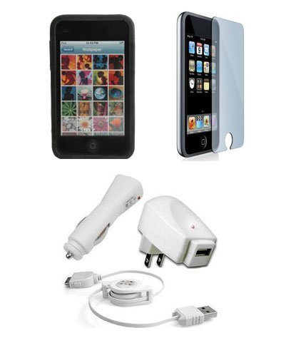 Apple iPod Touch 3G Accessories. Premium Accessory Kit for iPod Touch 3rd Generation: Black Silicone Skin Case Cover Protection + USB Car Auto DC Charger + USB Travel Home AC Charger + Full body Screen Protector