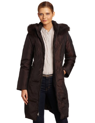 Via Spiga Women's Elegant Trim Hooded Down Coat, Java, X-Small