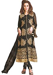 Namrah Collection Women's Georgette Embroidered (407, Black)