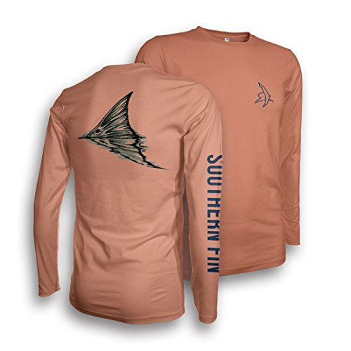 Performance Fishing Shirt - Southern Fin Apparel UPF 50 Dri Fit Mens Long Sleeve Redfish Tail X-Large (Fly Fishing Clothing compare prices)