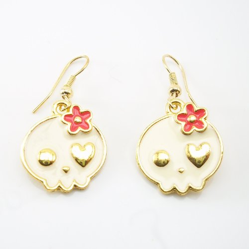DaisyJewel Daisies Skull Dangle Earrings - Lightweight & Skin-Safe Ear Wires with Golden Trimmed Creamy White Enameled Girly Skulls - Heart Eyed and Adorned with Hot Pink Enamel Flower - Adorable Pop Punk Earrings! at Amazon.com