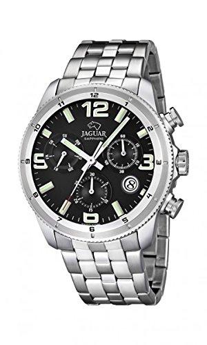 5c869cc323f7 Reloj Jaguar hombre J687 3 cronógrafo negro acero inoxidable 44 mm ...
