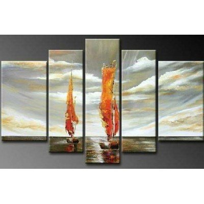 SR Sailing 5 pcs/set 100% Hand Painted Oil Paintings Home Decoration With Wood Framed Artwork And Read To Hang Modern Canvas Art Wall Decor