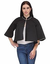 Natty India Black Crepe Partywear Shrugs