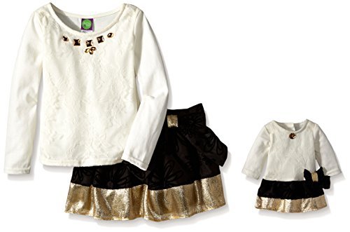 Dollie & Me Little Girls' Lace Top with Jewel Neck and Flock Skirt, Ivory/Black, 6X