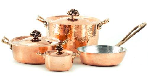 buy amoretti brothers hammered copper cookware 7 piece set bronze handles sitram profiserie. Black Bedroom Furniture Sets. Home Design Ideas
